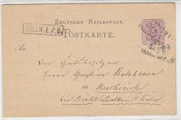 Ganzsache Mit AD Stempel COELN.E.P.B. Und Dreizeiler COELN-Frankfurt 31.3.II  (1878) - Deutschland