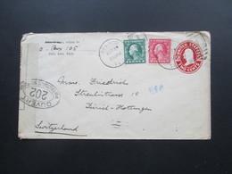 USA 1920 Ganzsachenumschlag Mit 2 Zusatzfrankaturen! Del Rio - Zürich. Controle Postal Militaire. Zensurbeleg - Briefe U. Dokumente