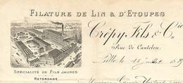 Facture Lettre / 59 NORD / LILLE / CREPY Fils / 1889 / Filature Lin Et D'Etoupes / Fils Jaunes / à M. Garnier GERADMER - France