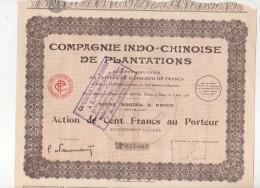 VIET-NAM-INDO-CHINOISE DE PLANTATIONS. Cie... Lot De 7 Actions - Shareholdings