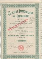 VIET-NAM-IMMOBILIERE DE L'INDOCHINE. S.I.D.I. SAÏGON. 1927. Action De 100 F - Shareholdings