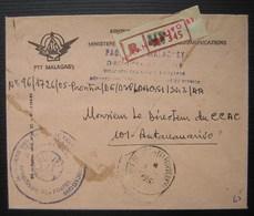Madagascar Lettre Recommandée En Franchise Avec Plusieurs Cachets Ministère Des Postes PTT Malagasy - Madagascar (1960-...)