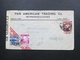 Zensurbeleg Peru 1942 Pan American Trading Co. Representaciones Examined By 4632. Air Mail - Peru
