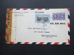Zensurbeleg Panama 1943 Via Miami Nach New York. A.A. Sasso, Cia. LTDA. Examined By 4933. Air Mail - Panama