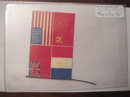Drapeau (petit) Libération Avec Les 4 Nations URSS USA FFL Commonwealth GB Sur Tige Métal WW2 Allied Flag Dday RARE !! - Flags