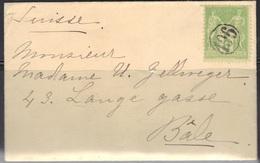 """Oblitérations """"Jour De L'An"""" Sur Enveloppe Carte De Visite, Sage N°106, Pour Bâle (Suisse). - 1876-1898 Sage (Type II)"""