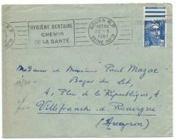 ENVELOPPE MARIANNE DE GANDON N° 886 15 F OUTREMER ROUEN RP 1951 / HYGIENE DENTAIRE CHEMIN DE LA SANTE - 1921-1960: Période Moderne