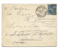 ENVELOPPE SAGE 15c / 1891 / VERSAILLES SEINE ET OISE POUR LE CHATEAU DE SARDAC HAUTE GARONNE - 1877-1920: Semi Modern Period