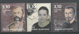 HR 2018-1315-7 FAMOUSE PERSONS, HRVATSKA CROATIA, 1 X 3v , MNH - Kroatien