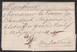 """L. Datée 1732 De WETZLAR (Allemagne) Pour Baron De Blanckart, Bailly De Montjoie à DUSSELDORF - Griffe """"DE WETSLAR"""" - ...-1849 Vorphilatelie"""