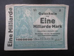 BILLET ALLEMAGNE (V1719) Eine Milliarden Mark 1000000000 (2 Vues) Bochum 01/09/1923 - [ 3] 1918-1933 : République De Weimar