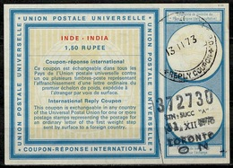 CANADA Incoming Mail TORONTO 31.12.73 As Redemption Postmark On International Reply Coupon Reponse Antwortschein IAS IRC - Antwortcoupons