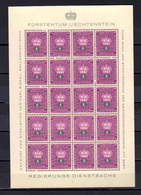 1950  Liechtenstein, Service, Armoirie, SE 35 / 44** En Feuillet De 20, Cote 165 €, - Liechtenstein