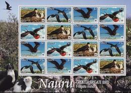 MDW-BK4-572 MDB MINT PF/MNH ¤ NAURU 2011 4X4w In Serie ¤ WWF - GREATER FRIGATE BIRD - Marine Web-footed Birds