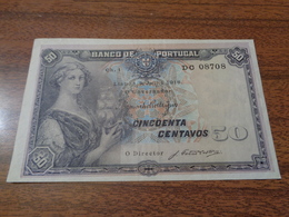 RARE BILLET DE 50 CENTIMES 1918 EN BON ÉTAT - Portugal