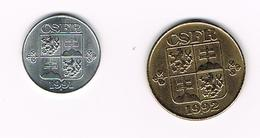 CSFR - TSJECHOSLOWAKIJE  10 HALERU + 1 KORUNA  1991/1992 - Tchécoslovaquie
