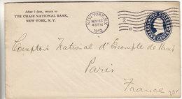 Chase Bank - New York 2 D 1912 - Cover Stationery - Entier Ganzsache - Postwaardestukken