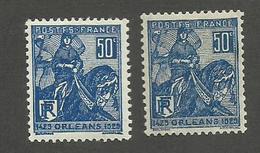 FRANCE - N°YT 257X2 TEINTES NEUFS* AVEC CHARNIERE - COTE YT : 4.60€ - 1929 - Ungebraucht