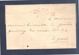 1827 Mme La Comtesse De Genlis Faubourg Paris Red Cancel 5.H. ..& PP…. (EO7-36) - Poststempel (Briefe)