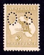 Australia 1915 Kangaroo 3d Olive 3rd Wmk Perf OS Die 1 MNH - 1913-48 Kangaroos