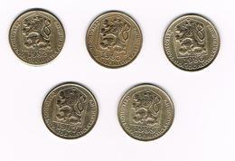 TSJECHOSLOWAKIJE  5 X 20 HALERU  1982/83/86/87/89 - Tchécoslovaquie