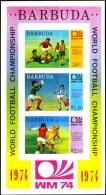 SOCCER-FIFA WORLD CUP-WM 74-IMPERF MS-BARBUDA-ANTIGUA NORTH & CENTRAL AMERICA-SCARCE-MNH-M2-75 - Coppa Del Mondo