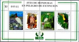 BIRDS OF HONDURAS IN DANGER OF EXTINCTION-SHEET-HONDURAS-1999-LIMITED ISSUE-SCARCE-MNH-M2-83 - Climbing Birds