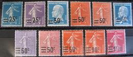 R1752/411 - 1926/1927 - TYPE SEMEUSE + PASTEUR - N°217 à 228 NEUFS* (SERIE COMPLETE) Cote : 18,75 € - France