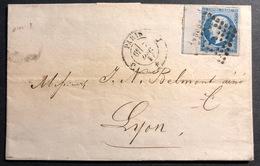 1853- 1860 Napoléon III N°14c Type I Bleu Avec Ligne D'encadrement LAC De Paris Pour LYON - 1853-1860 Napoleon III