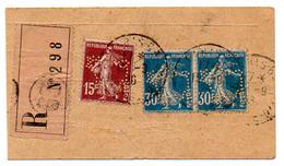 Perforé France Type Semeuse Camée N° 192 X 2 Et 189 Perf Ref Ancoper SIGLE 15 Sur étiquette De Colis - France
