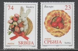 SERBIA, 2018, MNH, EASTER, RABBITS, EGGS, 2v - Easter