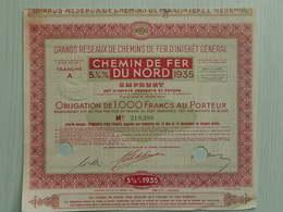 Ancienne Obligation 1000F - CHEMIN DE FER DU NORD - EMPRUNT 5½ % 1935 - 210206 - Shareholdings