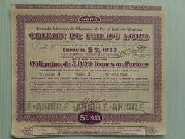 Ancienne Obligation 1000F - CHEMIN DE FER DU NORD - EMPRUNT 5% 1933 - 052209 - Actions & Titres