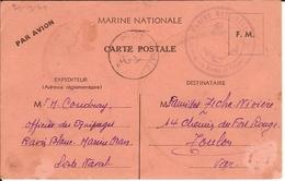 """CPFM Marine Nationale Par Avion. CàD """"Poste Navale"""" 2/1/45. """"Caserne Des Marins De Passage"""" - Postmark Collection (Covers)"""