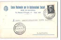 9611 01 CASSA NAZIONALE ASSICURAZIONI SOCIALI RAVENNA X SAN ZACCARIA - Marcophilia