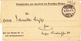 """LAC """"Frei Laut Aversum Nr 19 / Kais. Verkehrssteueramt""""  Obl STRASSBURG / * (ELS) 4 E Du 6.03.01 Adressée à Strasbourg - Marcofilia (sobres)"""
