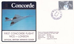 CONCORDE PREMIER VOL NICE LONDRES 7/04/1980 'dil296) - Airplanes