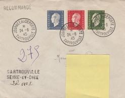 OBLIT. JOURNÉE Du DÉPORTÉ SARTROUVILLE 24.6.45 S/ L.R. ENREGISTREMENT MANUEL FAUTE ÉTIQUETTE - Postmark Collection (Covers)