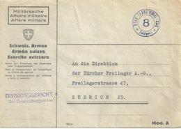 """Feldpost Brief  """"Divisionsgericht 8, Untersuchungsrichter""""          Ca. 1940 - Documenti"""