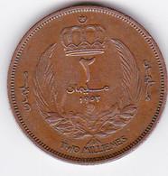 2 Milliemes -Royaume De Libye  IDRIS I - 1952 Unique Année D'émision -Assez Rare -Belle Pièce Avec Une Belle Patine - Libye