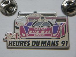 Pin's 2 Attaches - Automobile 24 HEURES DU MANS - PEUGEOT 905 JAGUAR - F1