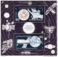 Bulgaria 1987 Sc. 3295 Soviet Space Achievements Sheet Used Usato Perforato - FDC & Commemoratives