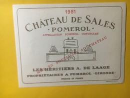 8269 - Château De Sales  1981  Pomerol - Bordeaux
