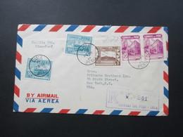 Peru 1946 Luftpost / Air Mail Lima - New York. Verzähnte Marke! 7 Stempel!! - Peru