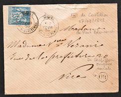 FRANCE (Marcophilie) Alpes Maritimes (dpt 87) Timbre N°90 Obl Sospel En 1898 Sur Lettre Avec Textede................ - 1877-1920: Semi-Moderne