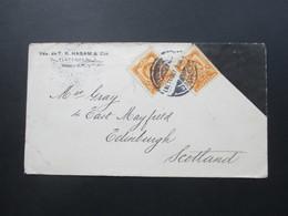 Mexiko 1907 MeF Brief Mit Schwarzer Ecke / Trauerbrief? Vda. De T.R. Hasam & Cia. Nach Edinburgh Schottland - Mexiko