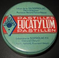 Boîte Ancienne Pastilles EUCATYLUM Pastillen - Lab. Soprolac Genval - Pharmacien Renard Rixensart - 4 Scans - Dozen