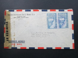 Zensurbeleg Costa Rica 1940er Jahre. Constructora Eric C. Murray. Examined By 12387. Air Mail - Costa Rica