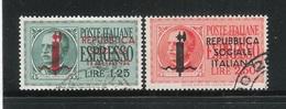 ITALIA - Repubblica Sociale Italiana-1944- 2 Valori Usati ESPRESSI Da L.1.25 E L. 2,50-in Ottime Condizioni. - 4. 1944-45 Repubblica Sociale