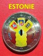 ESTONIE 2018 - 2 EUROS - ETAS BALTES - COULEUR - FARBE + CAPSULE MODELE N° 1 - Estonie